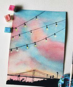 Deshlate Art on Inst Easy Canvas Art, Simple Canvas Paintings, Small Canvas Art, Cute Paintings, Mini Canvas Art, Watercolor Paintings, Canvas Crafts, Abstract Watercolor, Painting With Watercolors