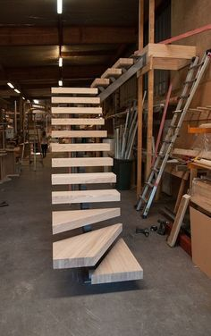 ideas floating stairs design stairways for 2019 Steel Stairs, Loft Stairs, House Stairs, Building Stairs, Building Plans, Floating Staircase, Floating Shelves, Stairs Architecture, Interior Architecture