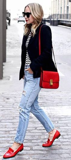 casual style perfection / blazer + stripped top + boyfriend jeans + red details
