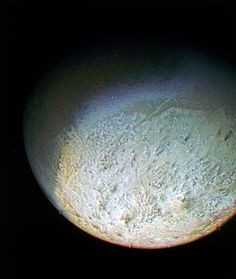 Triton's Surface. This color photo of Neptune's large satellite Triton was obtained on Aug. 24 1989 at a range of 530,000 kilometers (330,000 miles). The resolution is about 10 kilometers (6.2 miles), sufficient to begin to show topographic detail. Credit: NASA
