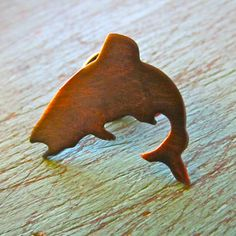 Jumping Trout Lapel Pin in copper
