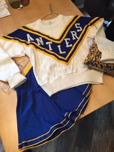 "Vintage Costume Cheerleading Uniform ""Antlers"" Sweater Skirt M Outfit Poms 
