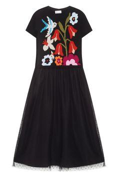 Платье с вышивкой Red Valentino - Приталенное длинное платье классического силуэта в стиле 50-х из коллекции узнаваемого бренда RED Valentino в интернет-магазине модной дизайнерской и брендовой одежды