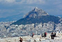 Lycabetus viewed from the Acropolis in the Acropolis, Athens Greece, Portal, Mount Everest, The Past, Greek, Mountains, City, Places