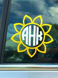 Sunflower Monogram Decal Empress Font Sunflower Car Decal - Monogram car decal sticker