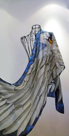 Hand painted silk scarf - The Swan Queen- swan silk scarf-bird scarves-wings scarf-swan scarf