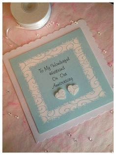 """To My Wonderful Husband On Our Anniversary - Large 8"""" Handmade Card."""