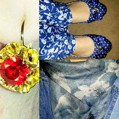 blog v@ LOOKS | por leila diniz: AZUL no look com flores + poá + jaqueta jeans + lenço / DEUS: Jesus Amigo Fiel