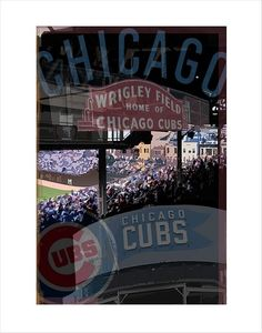 0f170663238 Chicago Cubs print - Wrigley Field Montage - 8x10