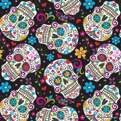 Day of the Dead with Glitter by David Textiles sugar skull flowers floral black folkloric skulls silver pink woven cotton by the yard metre Crane, Mexican Sugar Skulls, Sugar Skull Face, Skull Fabric, Cotton Crafts, Fabric Crafts, Sewing Crafts, Halloween Fabric, Skull And Bones