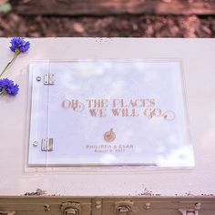 Vintage Travel Personalized Wedding Guest Book With Clear Acrylic Cove – Corks & Confetti