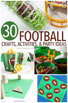 Adorable football crafts for kids, plus fun activities, football party ideas and football printables! Football Games For Kids, Kids Football Parties, Football Party Games, Football Crafts, Football Birthday, Kids Party Games, Birthday Party Games, Super Football, Birthday Ideas