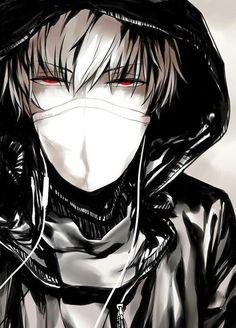 Anime, boy, dark, red eyes, masque, black, badass