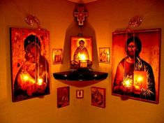 An icon corner is an essential feature of any Orthodox house. It becomes the family's place of worship – the home altar. Religious Icons, Religious Art, Home Altar Catholic, Orthodox Prayers, Orthodox Christianity, Prayer Corner, Jesus Christus, Les Religions, Prayer Room