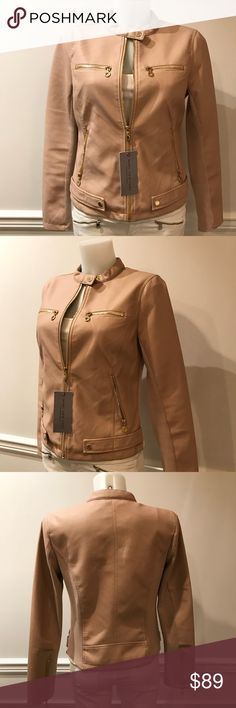 Stunning Andrew Marc faux leather bomber jacket Stunning Marc New York Andrew Marc pretty pink gold zipper faux leather fabric blend bomber jacket. Size S Andrew Marc Jackets & Coats