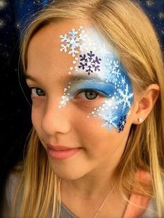 Snowflakes Girl Face Painting, Face Painting Designs, Painting For Kids, Frozen Face Paint, Christmas Face Painting, Cheek Art, Princess Face, Kids Makeup, Fantasy Makeup
