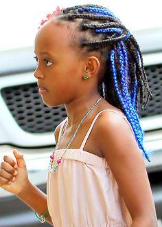 Zahara Jolie-Pitt, daughter of Angelina Jolie and Brad Pitt, likes her braids blue!
