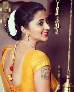 In a yellow & white color pattu / kanjeevaram saree and short sleeve blouse design Beautiful Girl Indian, Most Beautiful Indian Actress, Beautiful Saree, Beautiful Women, Simply Beautiful, Beauty Full Girl, Beauty Women, Beauty Girls, Pretty Nose