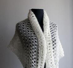 HandKnit Mohair Blend Shawl Scarf Wrap, Eyelet Lace, Stylish Comfort Prayer Meditation Wedding, Creamy White