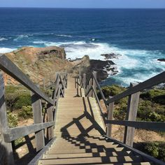 Stairs looking down to Cape Schanck beach Personal Photo, Garden Bridge, Wander, Cape, My Photos, Stairs, Outdoor Structures, Crafty, World