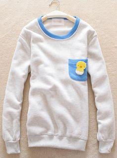 Gray Pocket Round Neck Sweatshirt$39.00