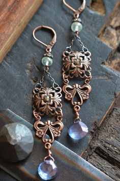 Vintage flair copper earrings with lovely rainbow blue by Purrrls