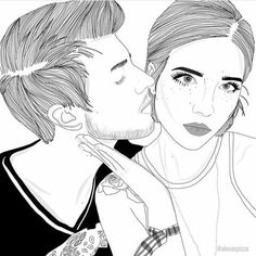 affection, art, black and white, boy, boyfriend, couple, couples, drawing, eyes, freckles, girl, girlfriend, illustration, kiss, kissing, love, man, photo, relationship, tumblr, we heart it, woman, halsey