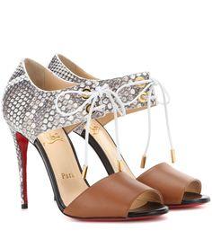 mytheresa.com - Mayering Leather And Snakeskin Sandals : Christian Louboutin ✽ mytheresa - Luxury Fashion for Women / Designer clothing, shoes, bags