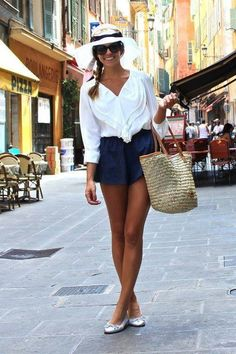 loose white shirt + navy blue shorts