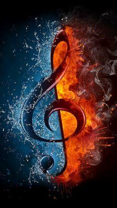note de musique effets d'eau et de couleurs bleu et ocre