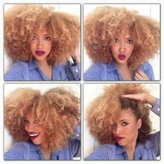 Blonde curls. To learn how to grow your hair longer click here - http://blackhair.cc/1jSY2ux