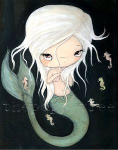 Mermaid Seahorse PrintThe White Mermaid by thepoppytree on Etsy