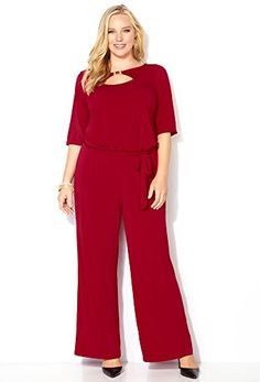 Fashion Plus Size Womens Red Keyhole Jumpsuit www.fashionbug.us #plussize 1X 2X 3X 4X 5X 6X