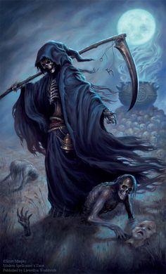 Album Archive - Modern Spellcaster's Tarot Death Reaper, Grim Reaper Art, Grim Reaper Tattoo, Don't Fear The Reaper, Gothic Images, Gothic Art, Dark Fantasy Art, Dark Art, Tattoos Motive