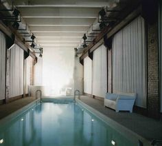 Indoor pool in industrial loft.