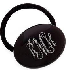 monogrammed black ponytail holder $19.99