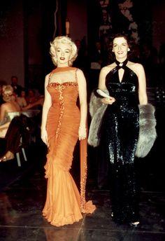 Marilyn Monroe and Jane Russell dressed for dinner in Gentlemen Prefer Blondes.