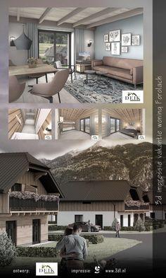 Interieur en exterieur 3d impressie woonhuis in Oostenrijk. In het Oostenrijkse Forolach worden een aantal nieuwe vakantiewoningen gerealiseerd. 3DL maakte deze artist impressions van het interieur en het exterieur van de vakantiehuizen #architecture #design #architecturaldesign #3d #3ddesign #graphicdesign #interieur #interiordesign #vacation Modern Small House Design, 3 D, House Plans, Mansions, House Styles, Outdoor Decor, Villa, Home Decor, Home