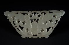 China 19. Jh. A Chinese Jade Carved Butterfly Plaque -Giada Cinese Chinois Qing