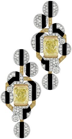 Morning in Vendôme Earrings from CafeSociety - Chanel - Fine Jewelry collection in 18K white gold set with 2 Emerald Cut - Yellow Diamonds (7.3 cts), 188 Brilliant Cut - Diamonds (2 cts), 64 brilliant cut yellow diamonds and carved Onyx.