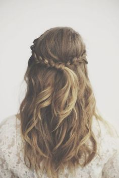 half up with braids, and tie wrapped with a piece of hair