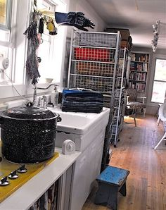 View of her dye kitchen and studio
