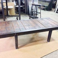 Antique ondustrial skid coffee table
