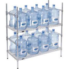 5 Gallon Water Bottle, Water Bottle Storage, Storage Rack, Food Storage, Aquafresh, Supermarket Design, Water Company, Water Containers, Water Treatment