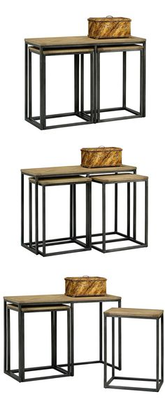 Revel in a dashing combination of rustic and contemporary. This set of Longmire Nesting Console Tables conquers the transition from modern to natural while offering fabulous serving and display surface...  Find the 3-Pc. Longmire Nesting Console Tables, as seen in the Cozy Cabin in Vermont Collection at http://dotandbo.com/collections/cozy-cabin-in-vermont?utm_source=pinterest&utm_medium=organic&db_sku=114931