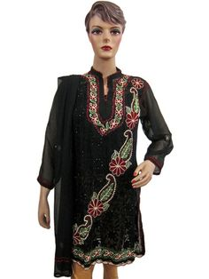 Designer Long Embroidered Kurti Georgette Black Dress Tunic Top with Scarf Small | eBay $34.99