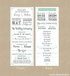 wedding programs on pinterest wedding program templates weddings and ceremony programs. Black Bedroom Furniture Sets. Home Design Ideas
