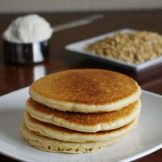 Oat Flour Pancakes (Old-Fashioned) - make sure to substitute for the sugar, milk and oil