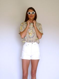 90s Tan Map Print Short Sleeve Button Up Blouse by VoyageurVintage
