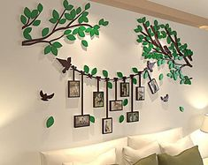 Spring Country Tree Wall Stickers With Photo Frames Family Wall Decor, Photo Wall Decor, Family Tree Wall, Tree Wall Art, Diy Wall Art, Wall Stickers With Photo Frames, Wall Stickers Murals, Wall Murals, Family Tree Photo